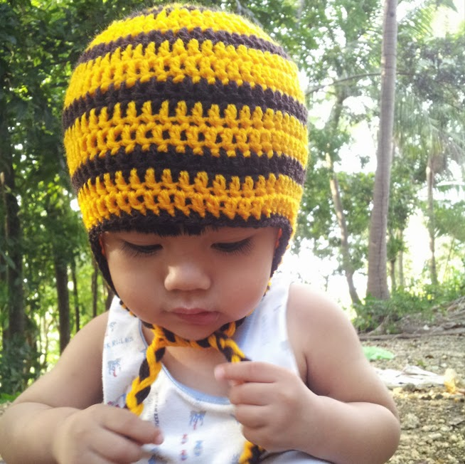 Simple Bee Hat With Earflaps and Braids for Toddlers