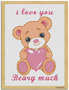 I love you beary much free cross stitch pattern-01