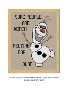 olaf from frozen saying some people are worth melting for free cross stitch pattern-01