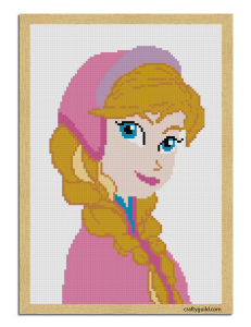 princess anna free cross stitch pattern