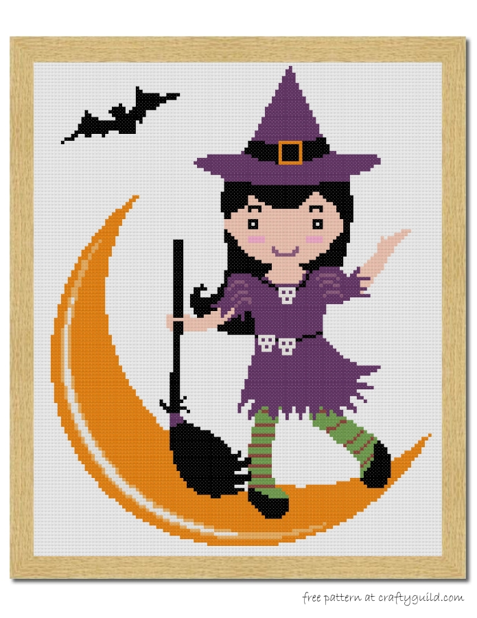 halloween witch free cross stitch pattern-craftyguild.com
