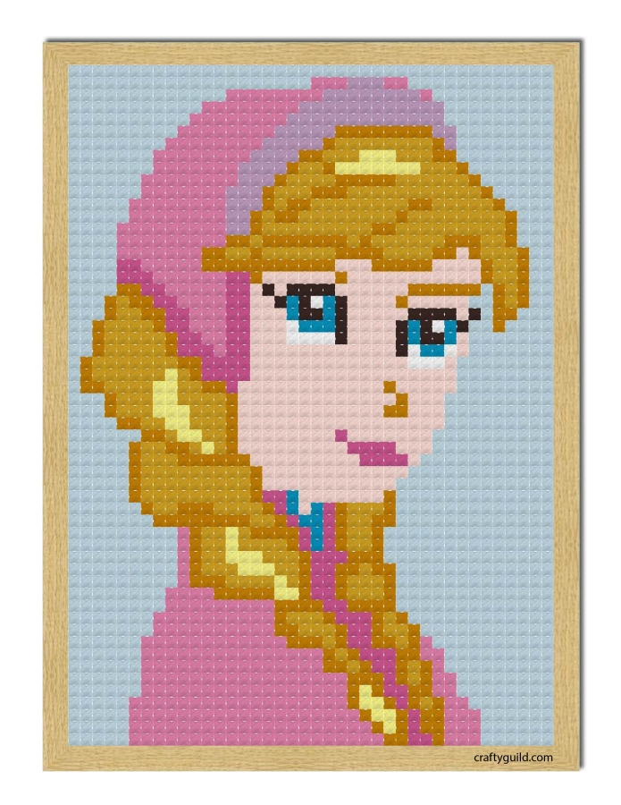 princess anna mini cross stitch pattern-craftyguild.com