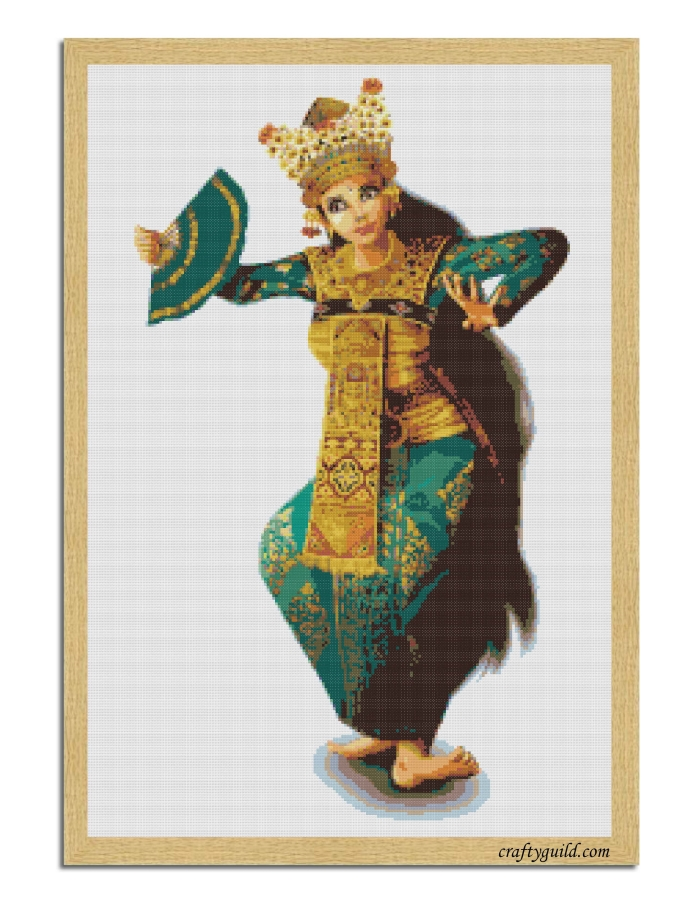 Balinese Dancer Free Cross Stitch Pattern