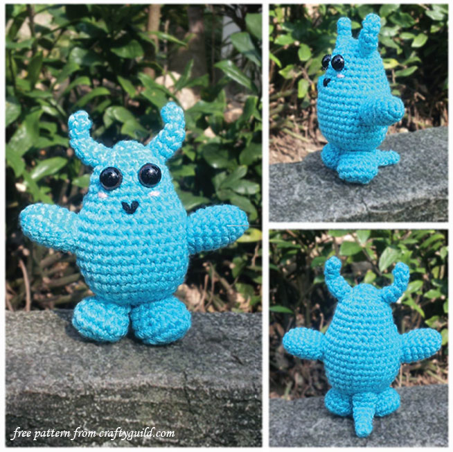 free amigurumi pattern-blue monster