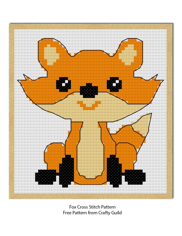fox cross stitch pattern-craftyguild.com