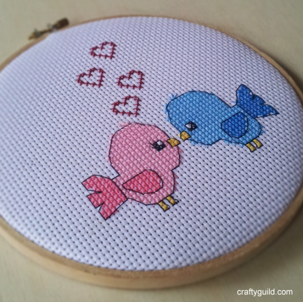 love birds free cross stitch pattern-craftyguild.com