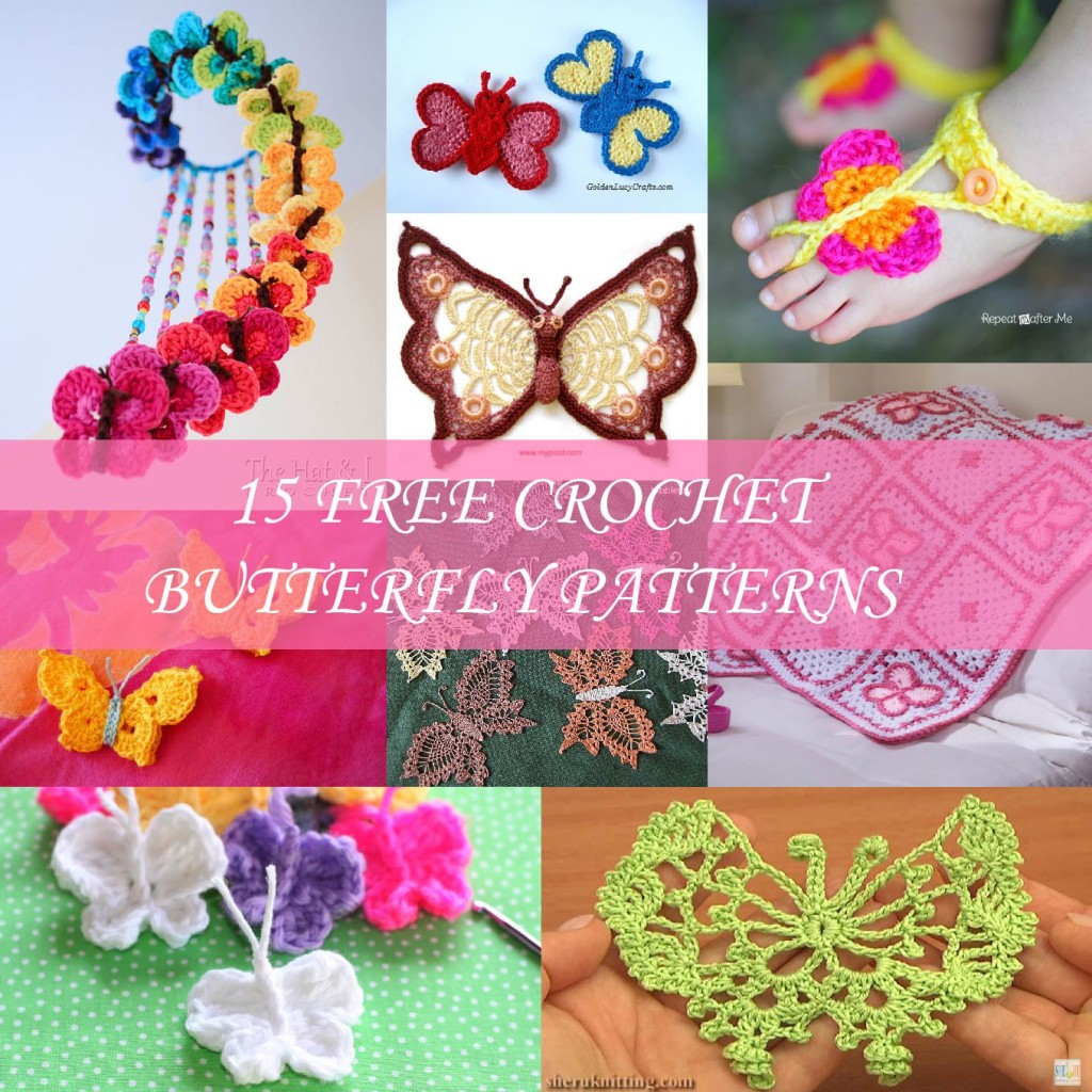 15 free crochet butterfly patterns