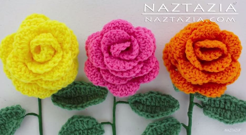 Crocheting Roses : ... on how to crochet this lovely Rose Bouquet Flowers with Leaves