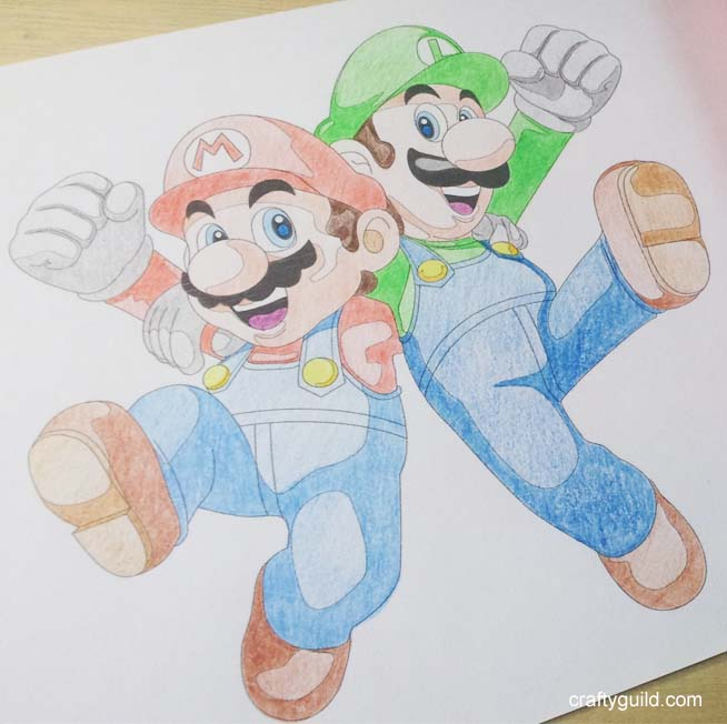 Mario and Luigi – Free Coloring Page from Crafty Guild