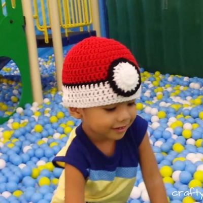 Poke Ball Hat Free Crochet Pattern